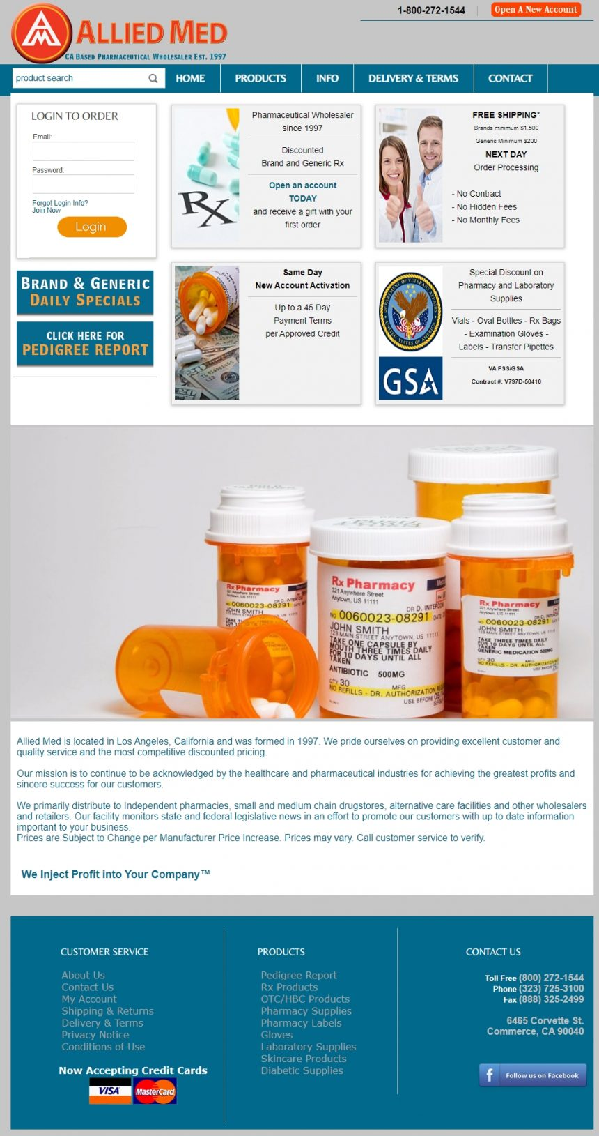 Pharmaceutical Website Design AmwRx.com