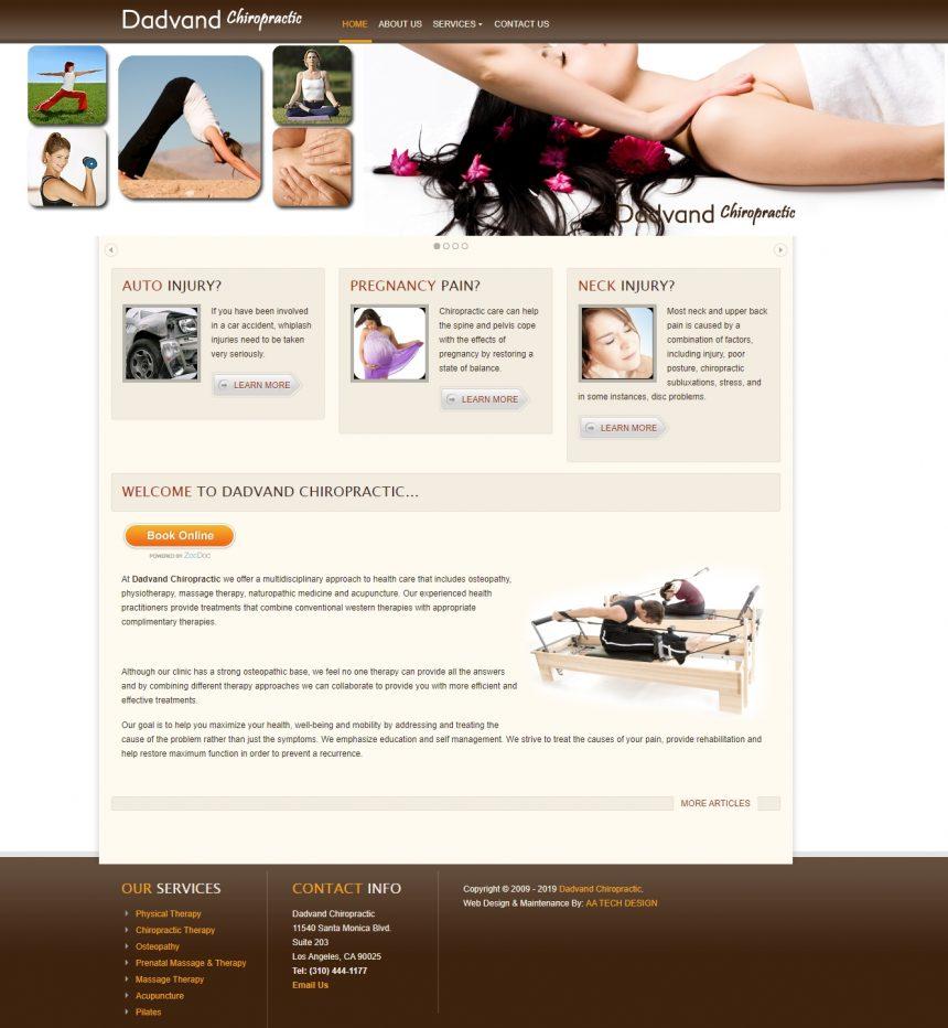 Chiropractic & Massage Therapist Website DadvandChiropractic.com