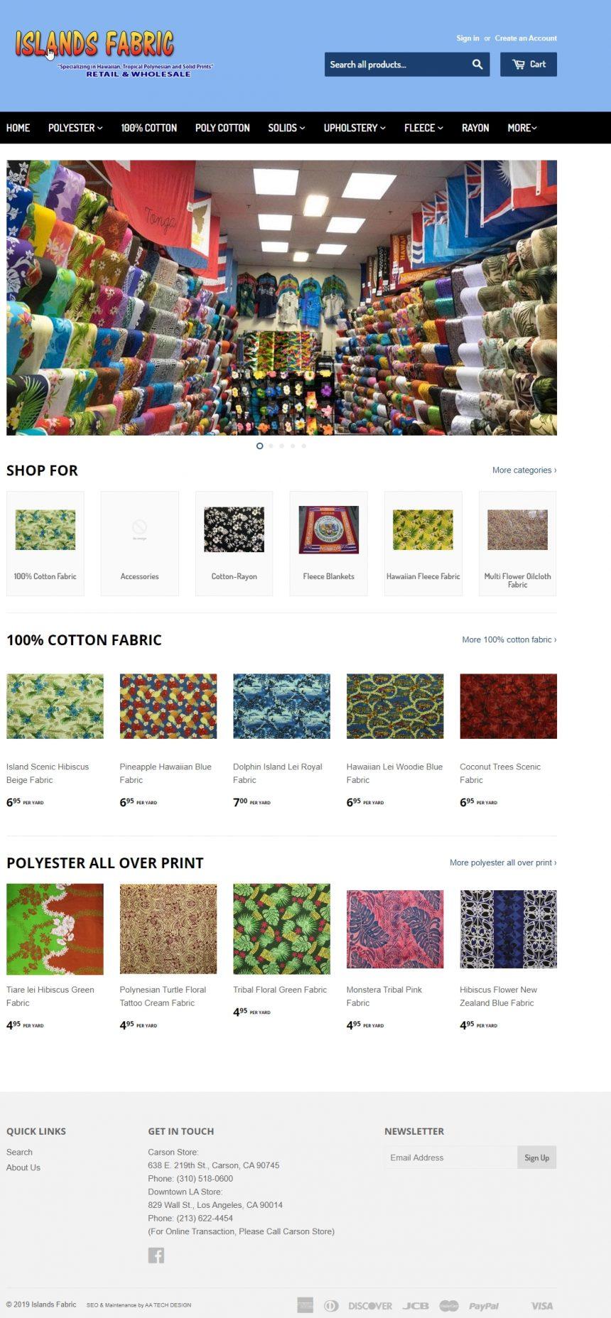 Fabric Retail Website IslandsFabric.com
