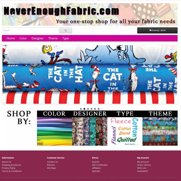 Fabric Retail Website NeverEnoughFabric.com
